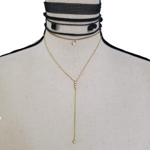 Black and Gold Chains Choker Necklace
